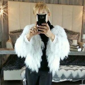 New! Shaggy White Cardigan Sweater Shag Style